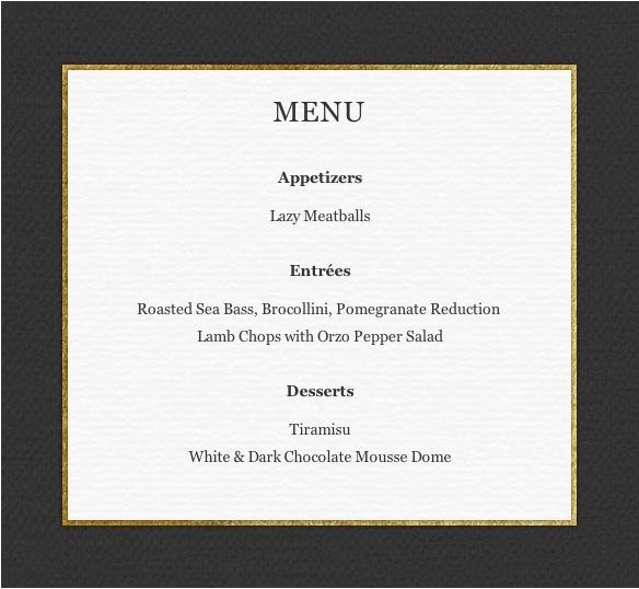 Fabio's Valentine's Day menu