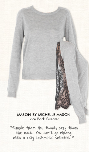 Mason By Michelle Mason Lace Back Sweater in Heather Grey