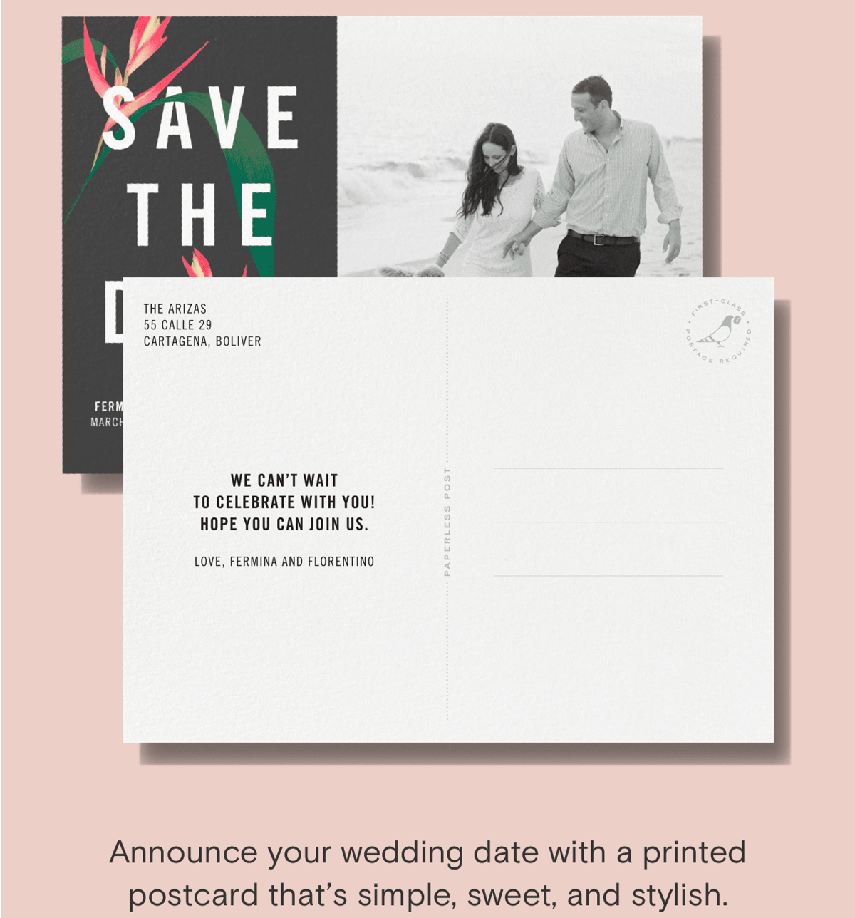 Announce your wedding date with a printed postcard that's simple, sweet, and stylish.
