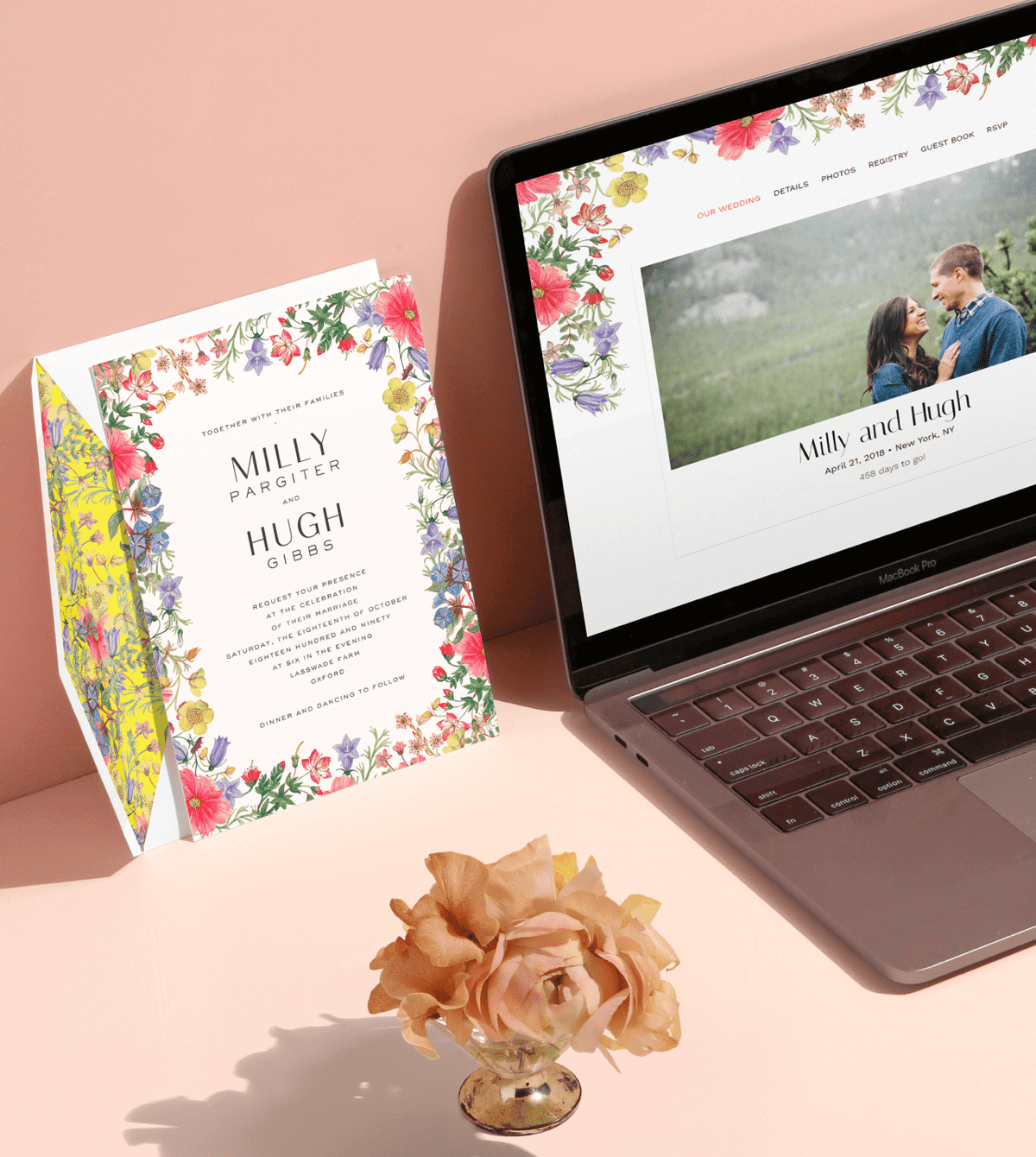 Match your wedding website with your printed wedding invitation