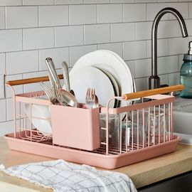 Wood-Handled Dish Rack