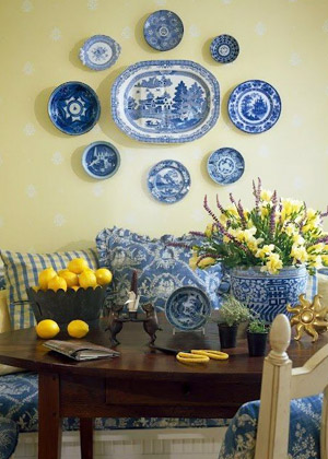 Kitchen banquette blue yellow decor blue throw pillows monetgiverny inspired decor