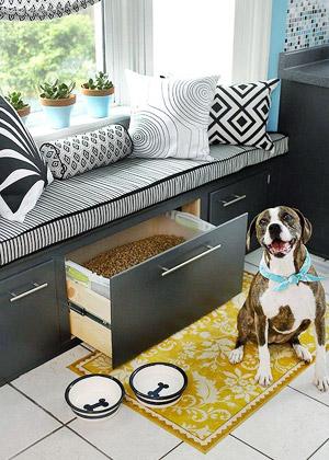 Window seat kitchen storage kitchen banquette dog food storage black accent pillows