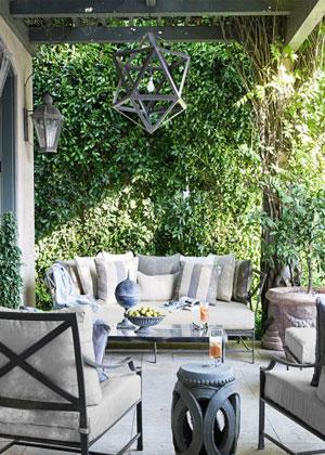 Veranda porch grey outdoor fabric Schumacher cote d'azur collection