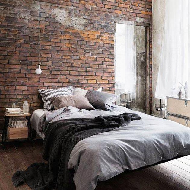 Brick wallpaper, industrial style bedroom, York Brick wallpaper HE1044