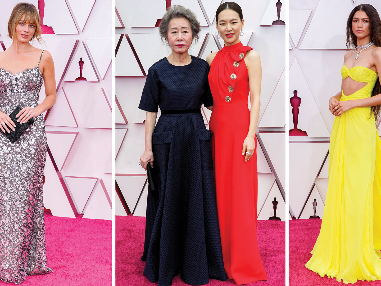 Image may contain: Han Ye-ri, Youn Yuh-jung, Zendaya, Fashion, Human, Person, Premiere, Red Carpet, and Red Carpet Premiere