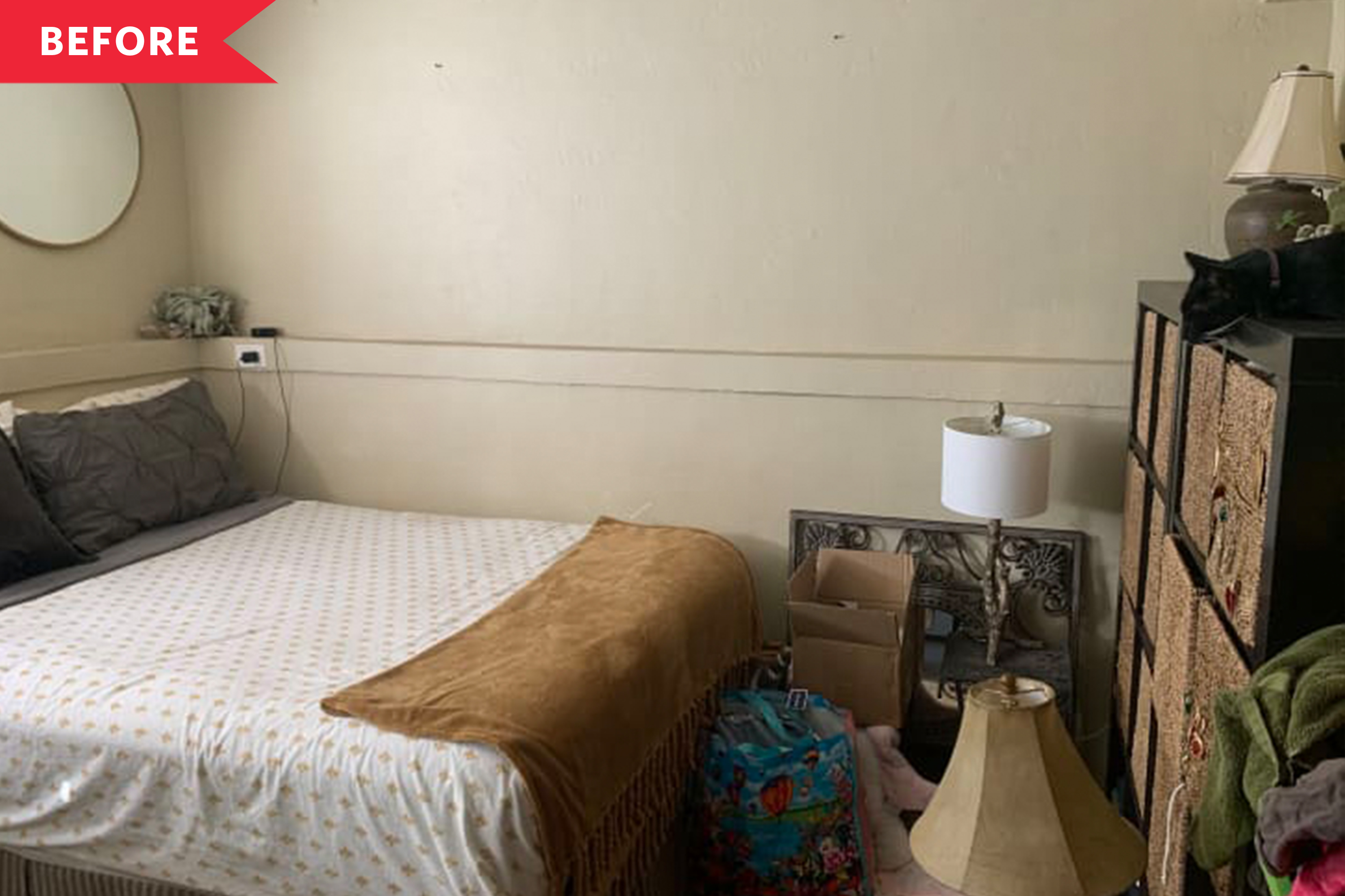 Before and After: A Cramped Bedroom Gets a Space-Maximizing Boho Redo