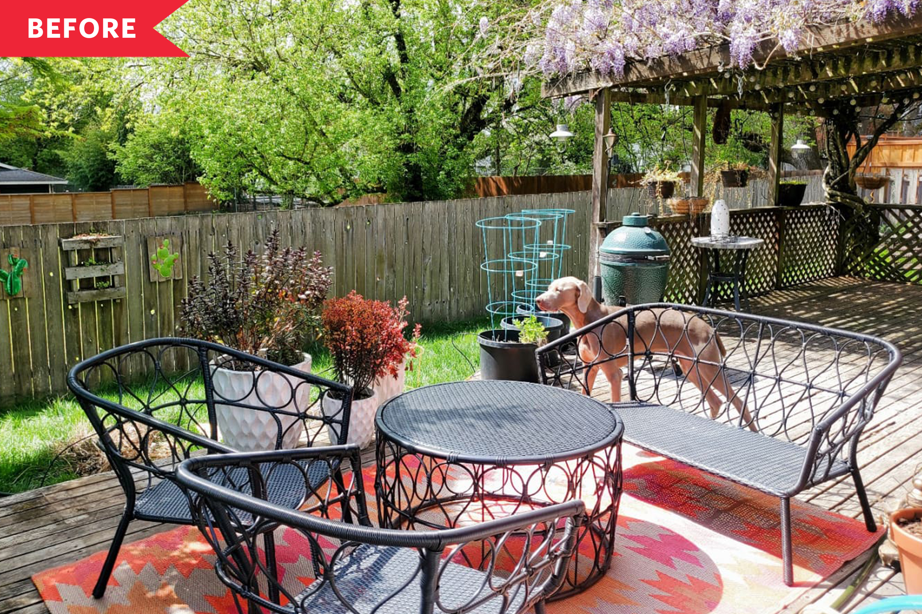 Before and After: A Patio with a Rotten Deck Becomes a Tropical Oasis for $3,500