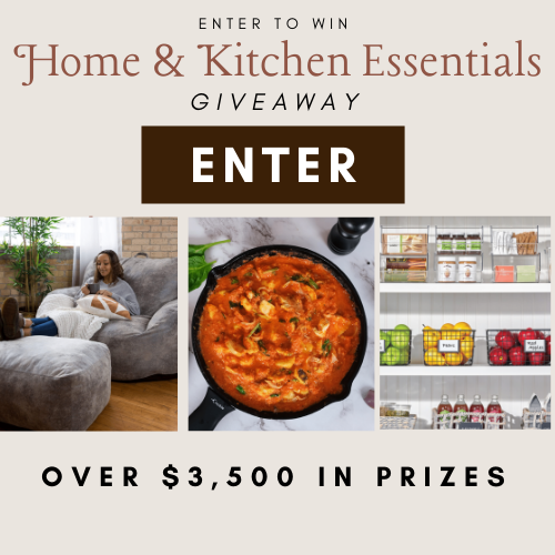 Enter for a chance to win: A $1,800 Vintage Rug from District Loom, $500 Giftcard to Apt2B, $250 Digital Coupon to Big Joe, $500 Home Storage & Decor bundle from mDesign, Aizome Bedding™ Natural Indigo Duvet Cover Set, $500 digital coupon from Crucible Cookware, and Sponge Cloths from Wet It.