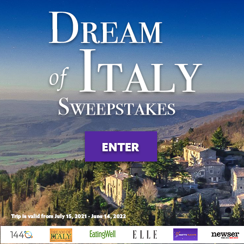 Enter for a chance to win: A 3-night stay at Monteverdi Tuscany---including dinner with wine for two and two spa treatmentsTravel restrictions: July 15, 2021 - June 14, 2022---Blackout dates apply: All major US Holidays. Contact hotel for additional dates. A $1,000 gift certificate to Delbrenna Jewelry in Cortona, A $500 gift certificate to ItalyAncestry.com A 16-Piece Lastra White Place Setting from VIETRI. A one-year of pasta from DeCecco. An assortment of heirloom seeds from Seeds From Italy. A lifetime subscription to Rosetta Stone Italian Lessons. A dinner for two with wine pairings, cookbook and gift bottle of wine at Toscana Brentwood. A lifetime digital subscription to Dream of Italy Travel Magazine and Membership Site. $250 Gift card courtesy of Matt's Flights. $400 gift card courtesy of 1440. $250 gift card courtesy of Newser