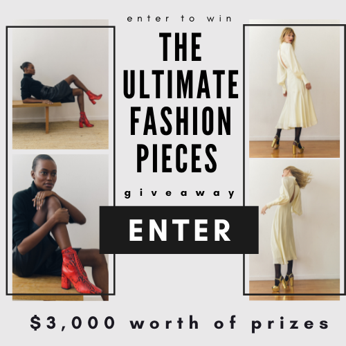 Enter now for a chance to win:  $750 DANIELLA SHEVEL luxury shoes gift card, $400 Amex gift card, $700 Tanya Taylor gift card, $500 Dr. Barbara Sturm store credit + Glow Drops 30 ml + Face Cream Light worth $350,  $300 Bing Bang Jewelry gift card