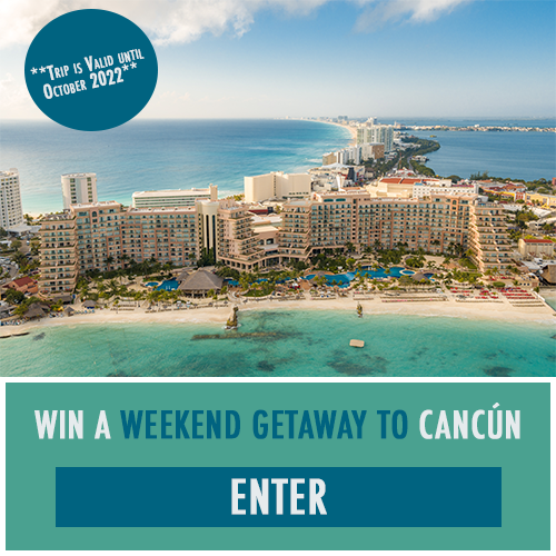 Enter for a chance to win a 4-night stay to the Grand Fiesta Americana Coral Beach Cancun All-Inclusive Resort, a $250 gift card from 1440, a $250 gift card from Apt2B, a $250 gift card from Skyroam, a $250 gift card from Matt's Flights, a $250 Jane.com gift card, and a wellness kit from Youtheory®. The trip is valid until October 2022.