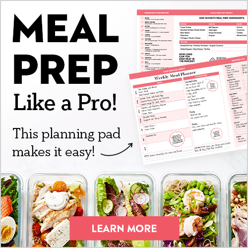 Learn to meal prep like a pro! Get 52 weeks' worth of advice, planning pages and tear-off grocery lists!