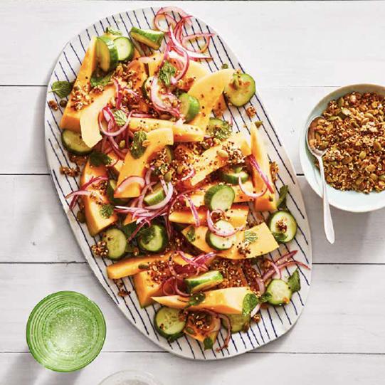 Cucumber and Cantaloupe Quinoa Salad