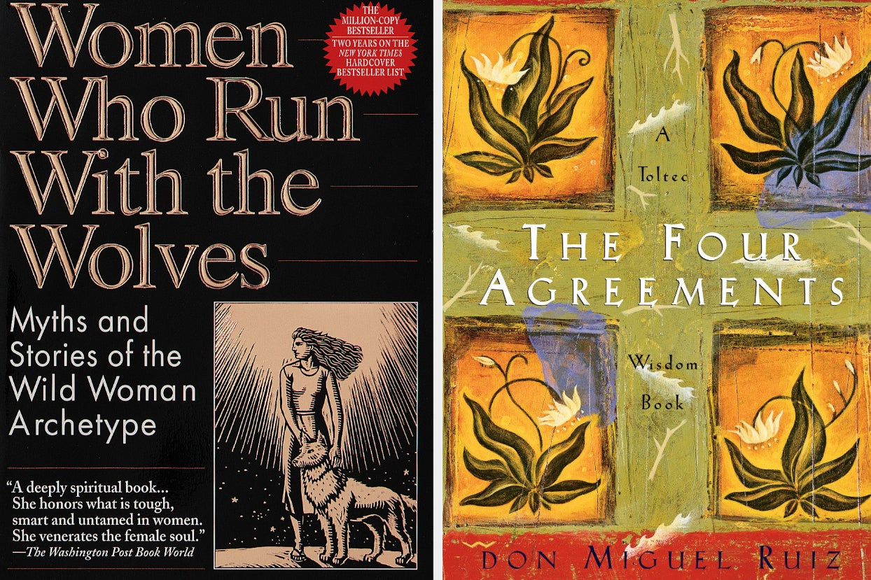 cover of ''women who run with the wolves;'' cover of ''the four agreements''