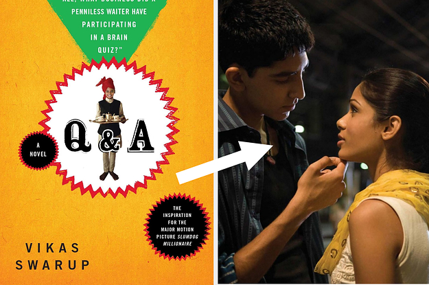 Two images. On left, a book cover: ''Q & A by Vikas Swarup''. On right, a movie still from Slumdog Millionaire. A white arrow points from the book cover to the movie still.