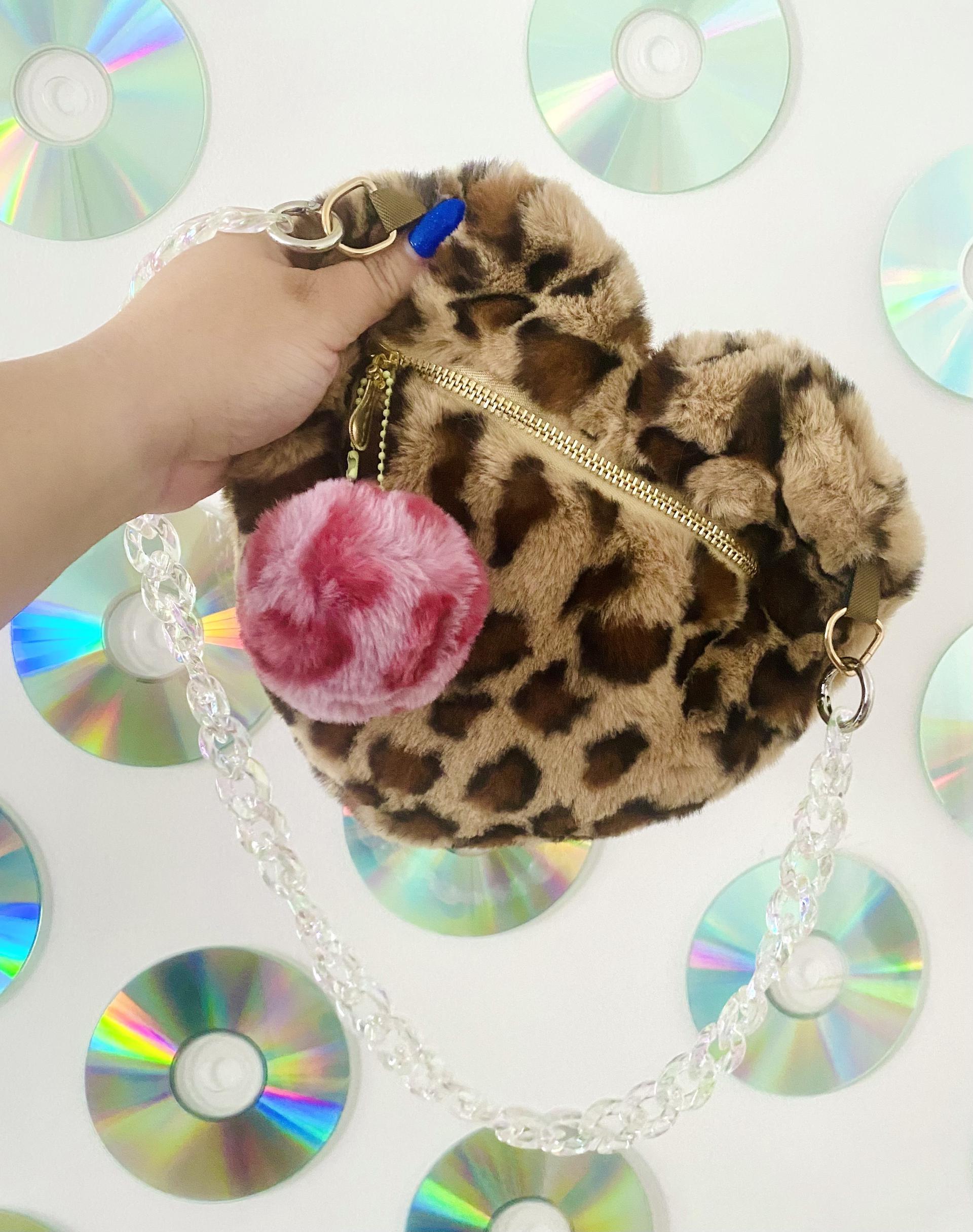 Fluffy Monster Leopard Heart Purse