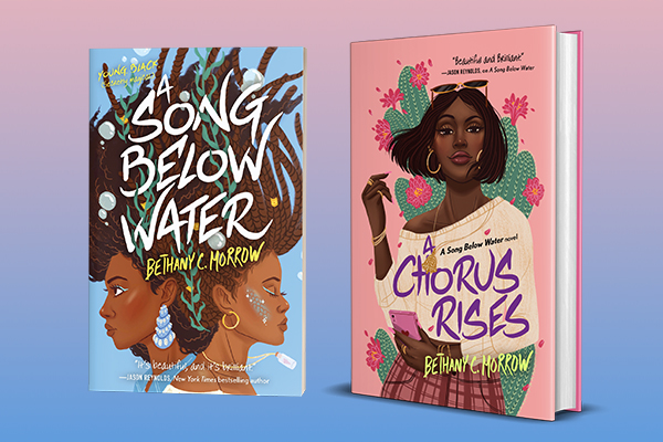 Digital illustration of two books standing upright: ''A Song Below Water'' and ''A Chorus Rises'' both by Bethany C. Morrow