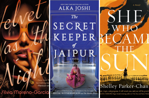 Three covers: velvet was the night; the secret keeper of jaipur; she who became the sun