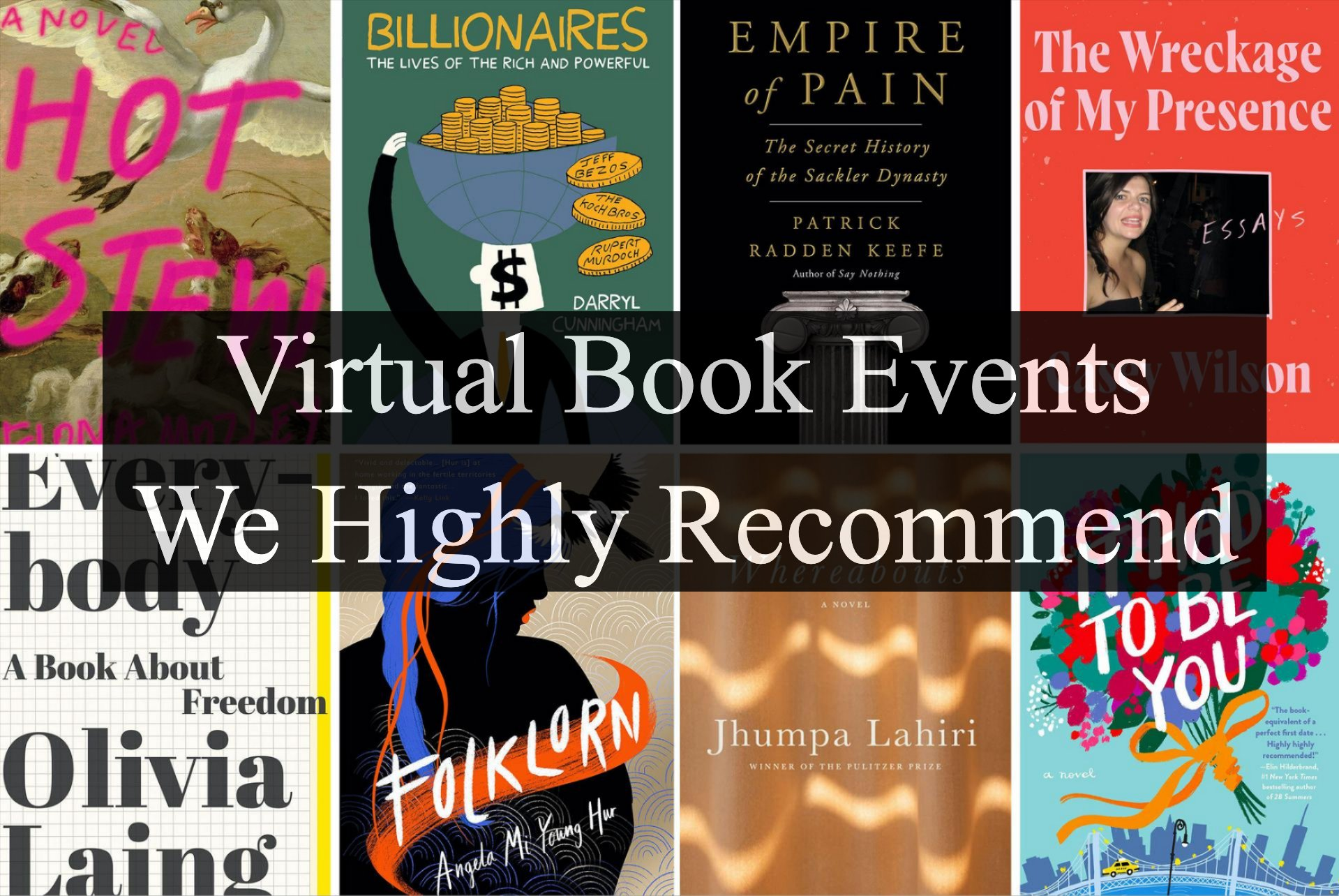 Grid of eight book covers, text overlay reads ''Virtual Book Events We Highly Recommend''