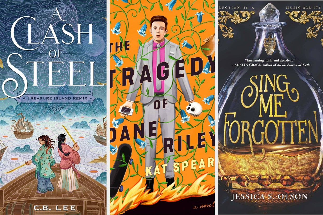 cover of ''a clash of steel'' by CB Lee; cover of ''the tragedy of dane riley'' by kat spear; cover of ''sing me forgotten'' by jessica s. olson