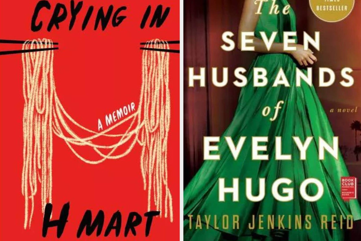 cover of ''crying in h mart;'' cover of ''the seven husbands of evelyn hugo''