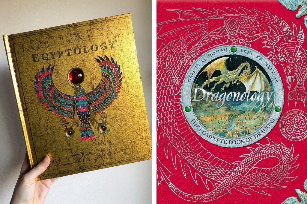 a hand holds up the ''egyptology'' book; cover of the ''dragonology'' book