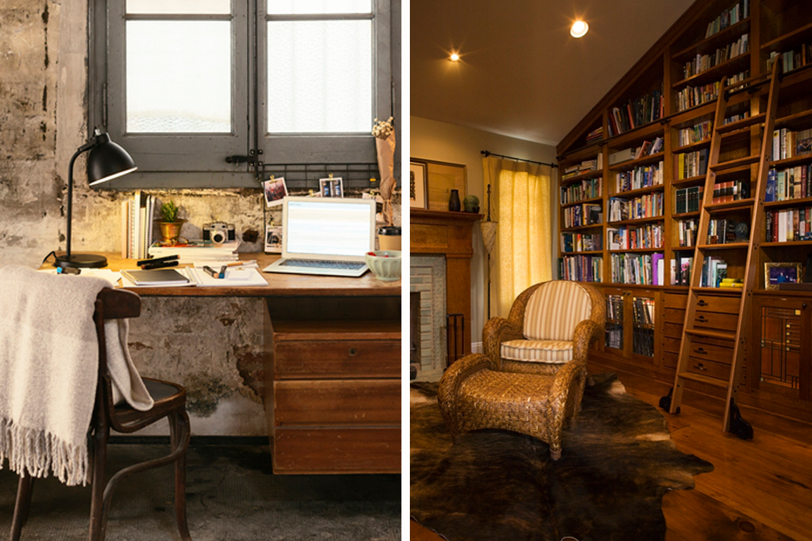 a cluttered desk next to a chair with a blanket thrown over it; a cozy wood library wall with a ladder and chair