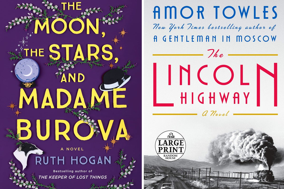 left: cover of the moon the stars and madame burova; right: cover of the lincoln highway