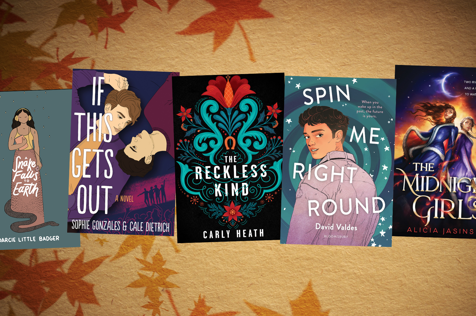 five book covers against a plain background with superimposed fall leaves