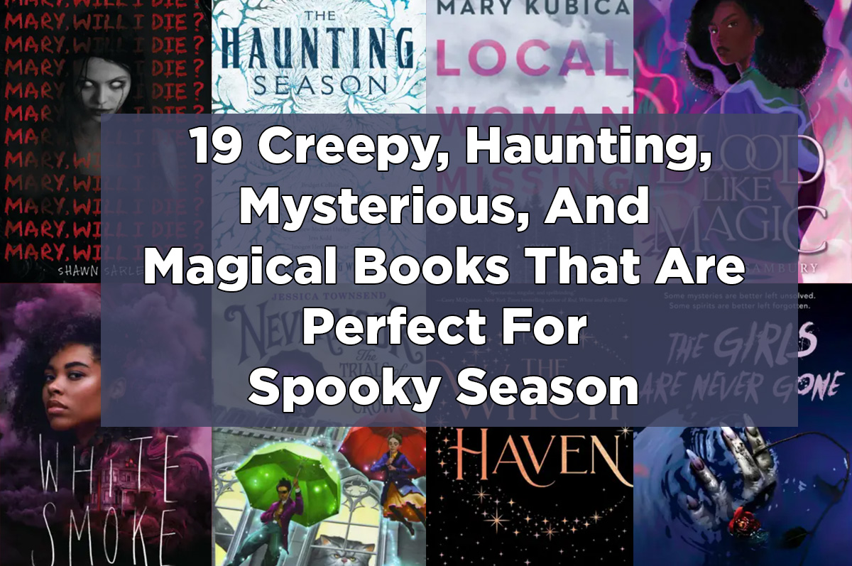 two rows of book covers with added text ''19 creepy, haunting, mysterious, and magical books that are perfect for spooky season''