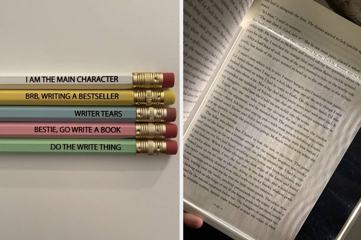a set of colorful pencils with bookish saying carved into them; a clear light brightens the page of a book