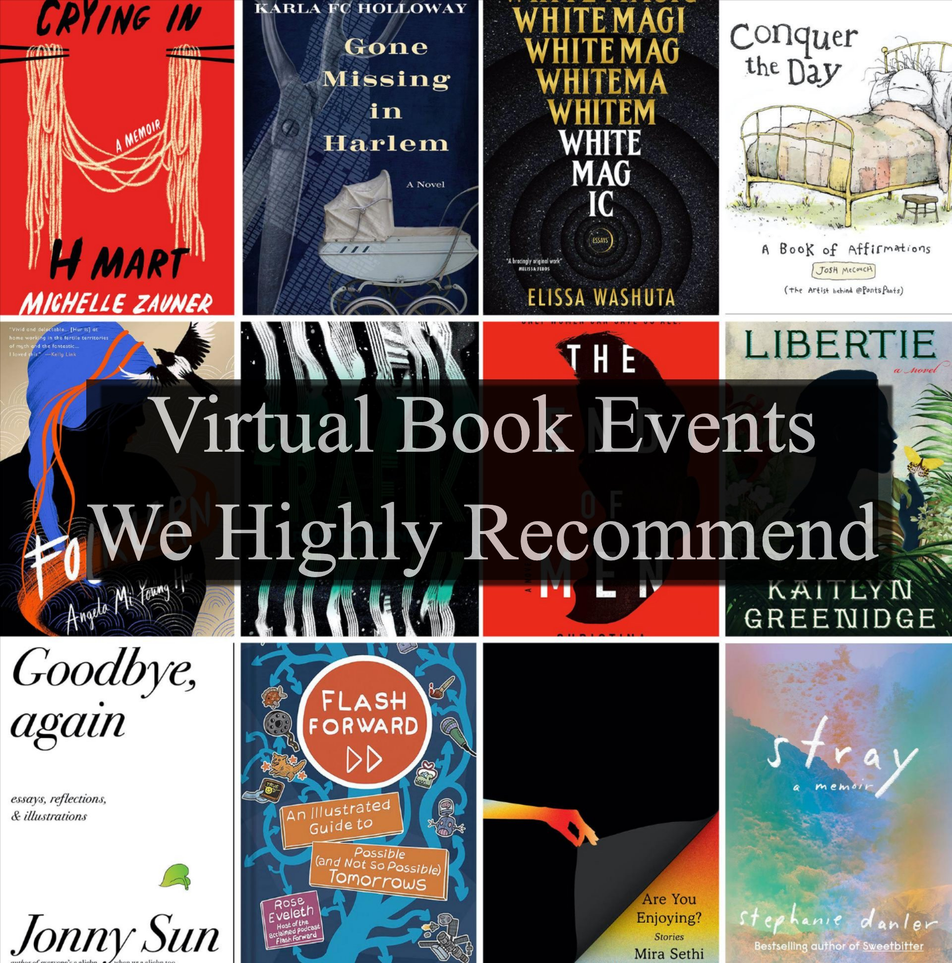 Grid of book covers with text overlay: ''Virtual Book Events We Highly Recommend''