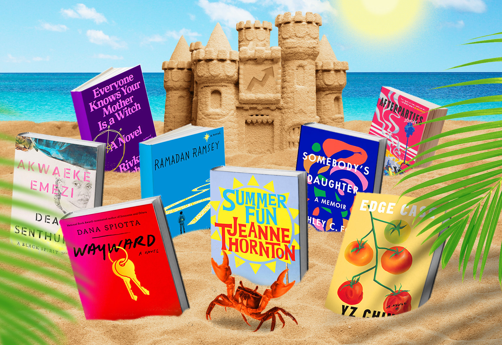A digital illustration of a sunny beach with a sandcastle featuring the BuzzFeed arrow logo in the center. In front of the sandcastle, eight books are propped up in the sand. At the very front is a little crab.