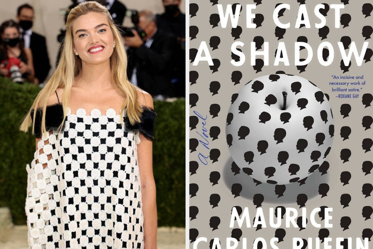 a celeb on the red carpet smiles in a white and black dress; the white and black cover of ''we cast a shadow''