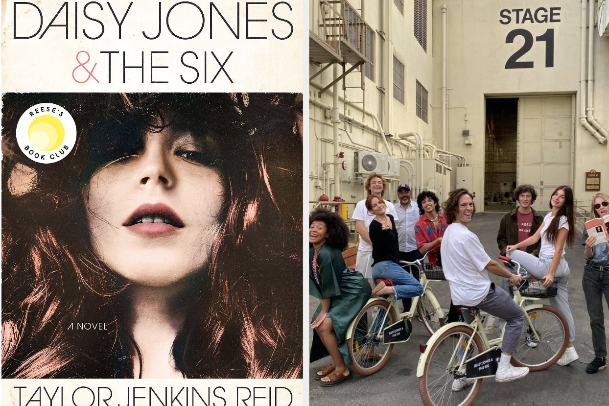 cover of ''daisy jones and the six;'' the cast sits on bikes in front of a stage, posing