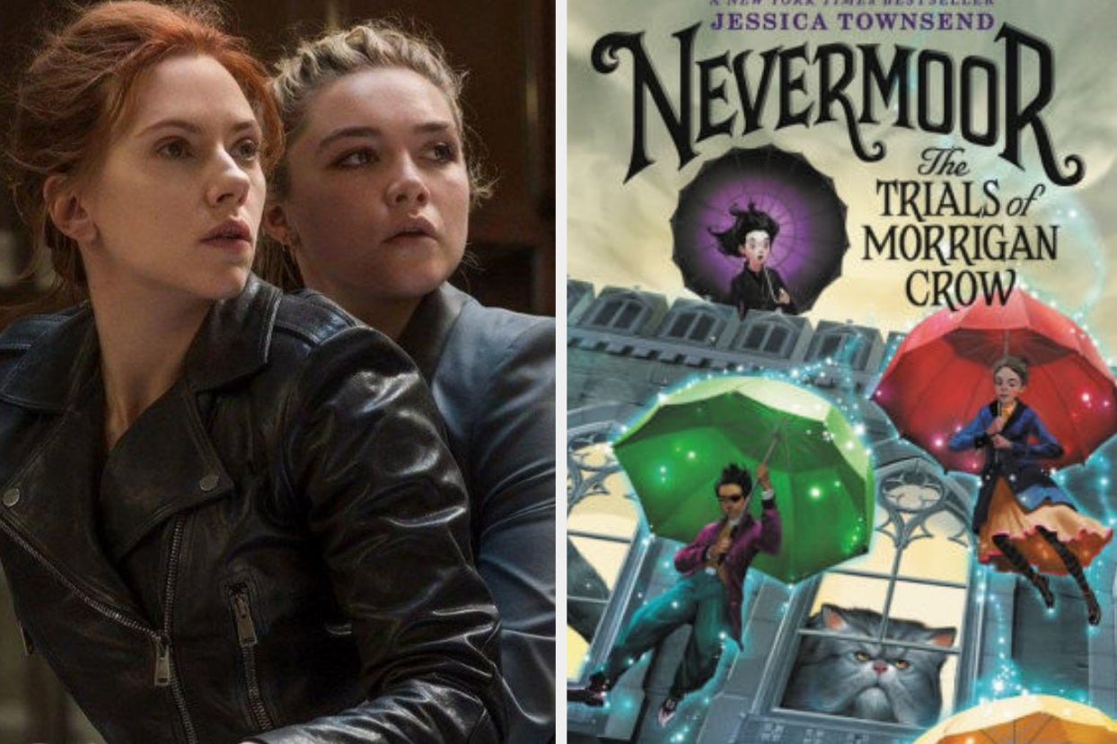 scarlett johansson and florence pugh in black widow side by side in a fight stance; the cover of ''nevermoor''by jessica townsend