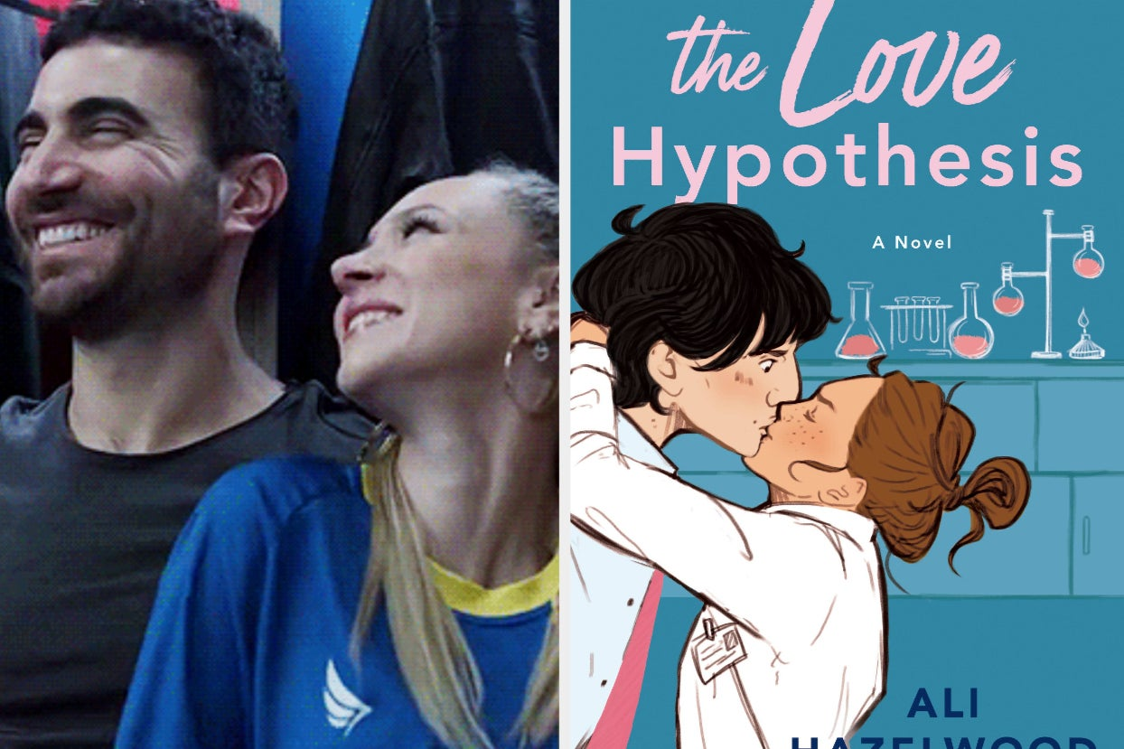 keeley from ''ted lasso'' smiles up at roy kent, who smiles off camera; the cover of ''the love hypothesis''