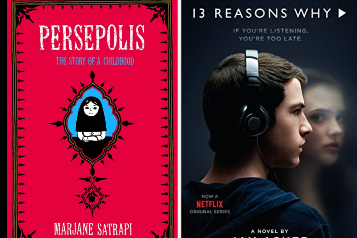 left: cover of ''persepolis;'' right: cover of ''13 reasons why''