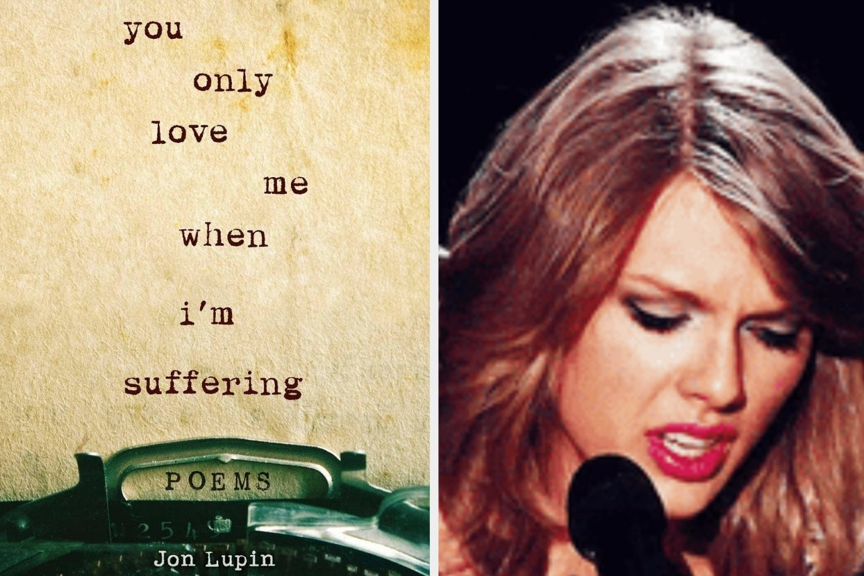 cover for ''you only love me when i'm suffering'' by jon lupin; taylor swift looks down with a furrowed brow, mid-singing