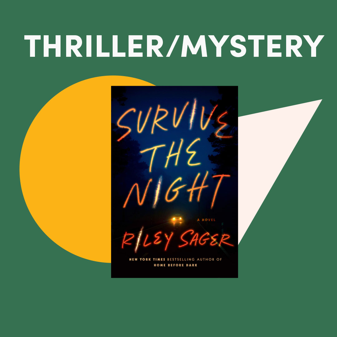 Illustrated graphic with book covers, text reads ''Thriller/Mystery''