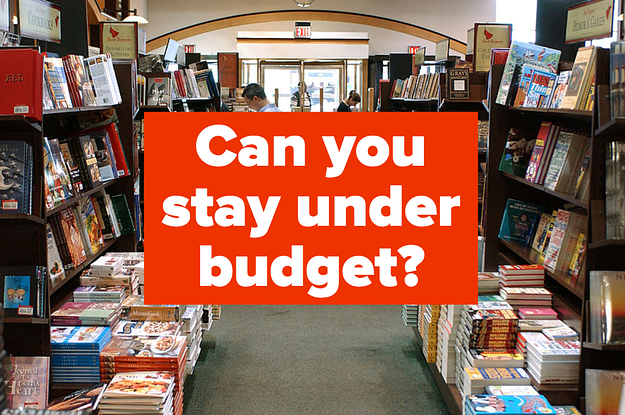 Photo of an aisle between two bookshelves with books stacked on the floor. Text box overlay reads ''Can you stay under budget?''