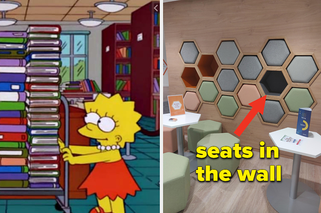 Two images: On left, screengrab of Lisa Simpson pushing a cart stacked with a pile of books taller than her; on right: a photo of a wall with a hexagon designs; text overlay reads ''seats in the wall'' with an arrow pointing to one of the hexagons