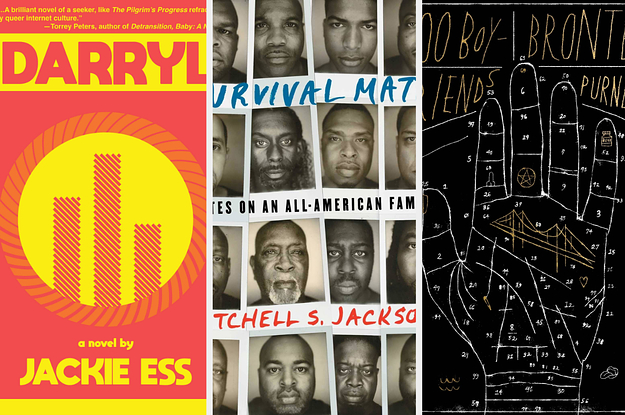 Three book covers: Darryl by Jackie Ess, Survival Math by Mitchell S. Jackson, 100 Boyfriends by Brontez Purnell