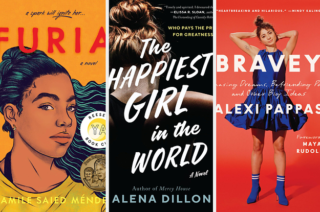 Three book covers: ''Furia'', ''The Happiest Girl in the World'', ''Bravey''
