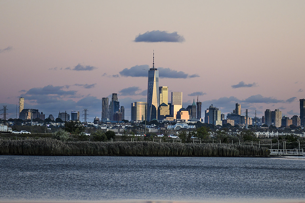 Photo of the New York City skyline beyond the marshes and a body of water