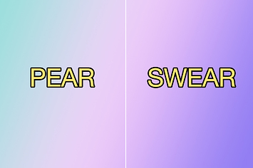 Two words over multi-colored background: pear, swear
