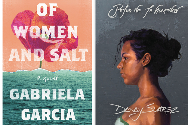 Two images: On left, ''Of Women and Salt'' by Gabriela Garcia book cover; on right: Danay Suarez album cover