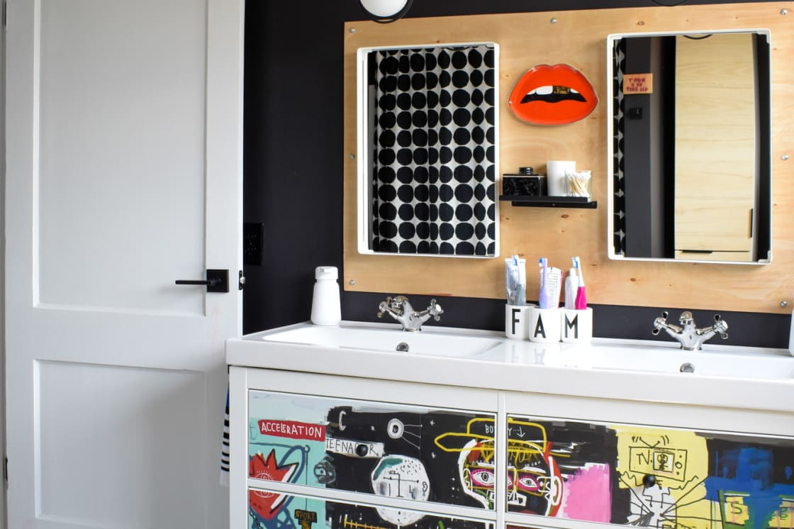 We Renovated Our Shared Family Bathroom for $3,000 — And the Result is Super Bold