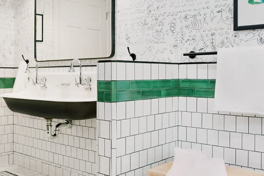 Before and After: A Plain-Jane Kids Bathroom Gets a Sleek Makeover Inspired by … Locker Rooms?!